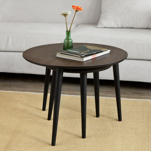 SoBuy Coffee Table Sofa Coffee Table Living Room Low Coffee Table Brown 2 Pieces Fbt40-Br