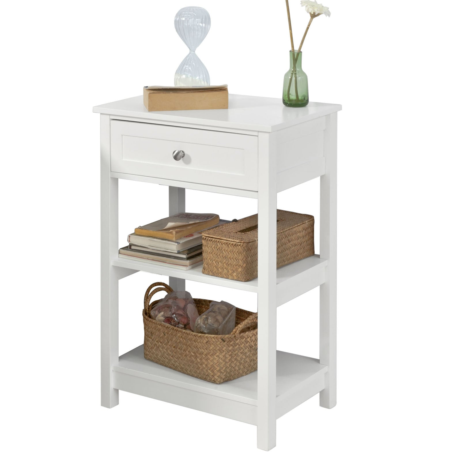 SoBuy Bedside Table Small Bedside Table White Sofa With Drawer Fbt46-W