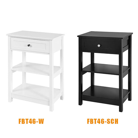 SoBuy Bedside Table Small Bedside Table Black Sofa With Drawer Fbt46-Sch