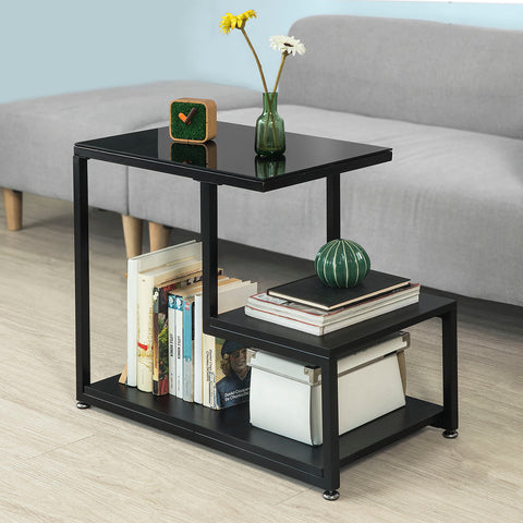 SoBuy Coffee Table Sofa Coffee Table Living Room Low Coffee Table Black 2 Pieces Fbt65-Sch