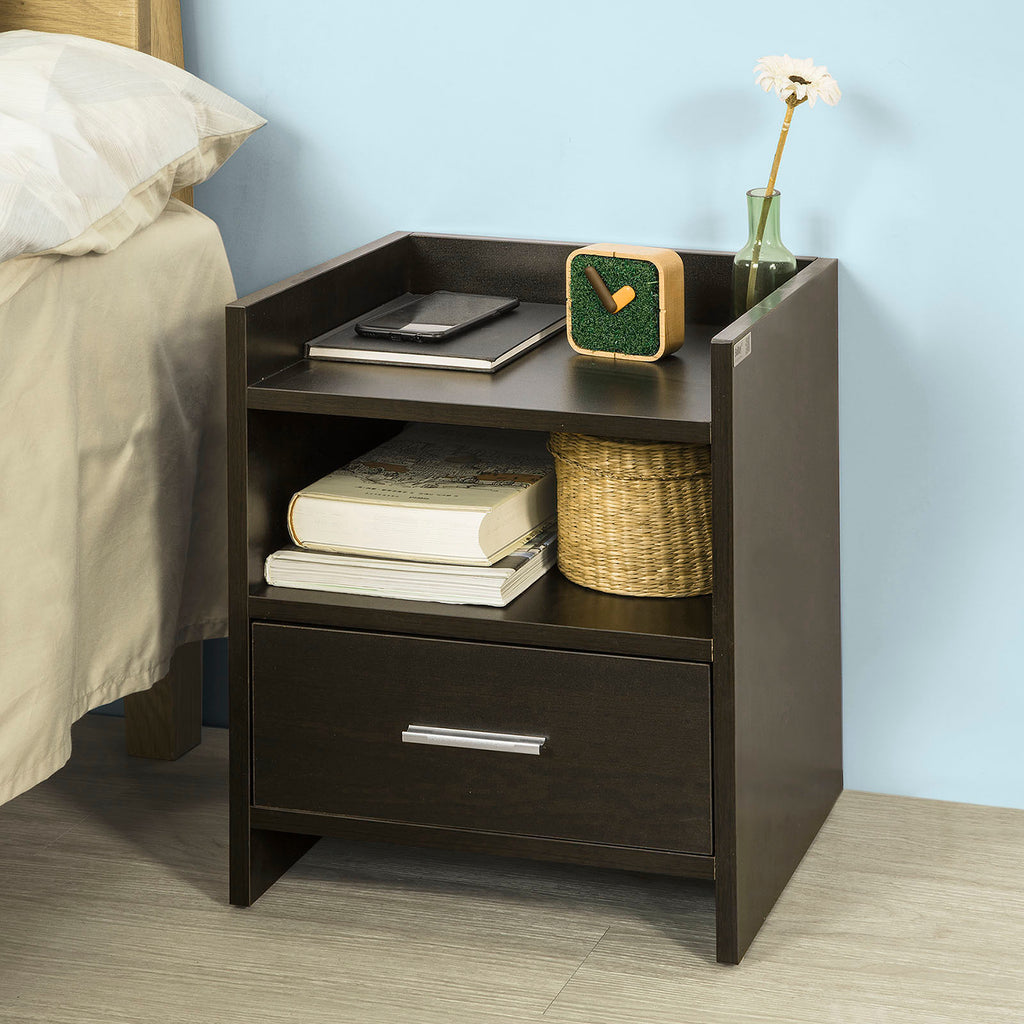 SoBuy Nightstand Nightstand Μικρό Καφέ Καναπές Πλαϊνό Τραπέζι με Συρτάρι Fbt66-Br