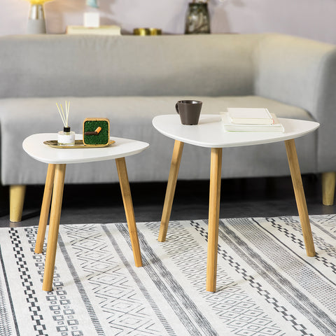 SoBuy Set of 2 Low Living Room Tables Bamboo Wood solid wood and MDF White Modern Coffee Table FBT74-W