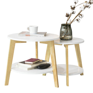 SoBuy Set of 2 Low Coffee Tables in Solid Hevea Wood and MDF with 4 White Shelves FBT75-W