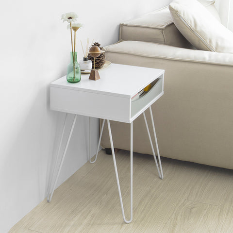 SoBuy Sofa Table with Removable Drawer Small Bedside Table White L41 * P35 * H51 cm FBT82-W