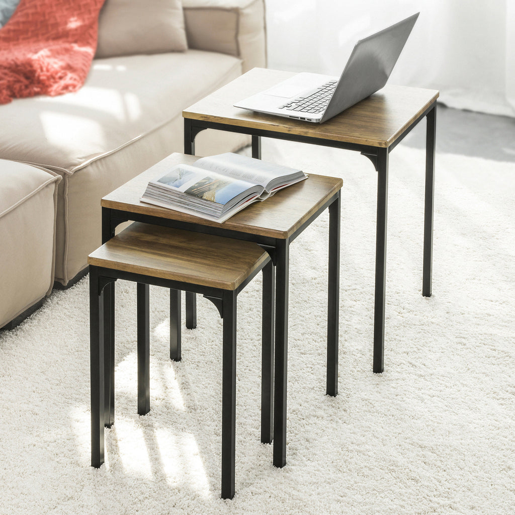 SoBuy Set of 3 Coffee Tables Living Room Coffee Table Coffee Table Coffee Table, FBT84-N