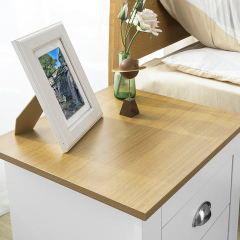 SoBuy Small Bedside Table Small Sofa with 2 drawers White L45 * P40 * H48cm FBT86-W