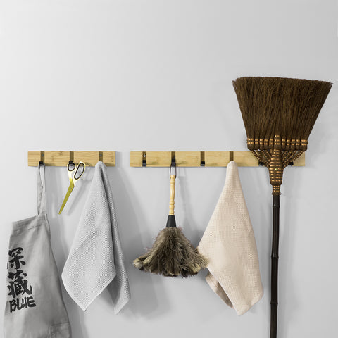 SoBuy | Wall Coat Hanger | with 3 Retractable Hooks | Wall coat rack | L30cm in Bamboo wood and Iron | FHK14-