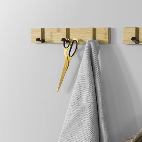 SoBuy Wall Hanger with 3 Retractable Hooks Wall Hanger L30cm Bamboo Wood and Iron FHK14-N