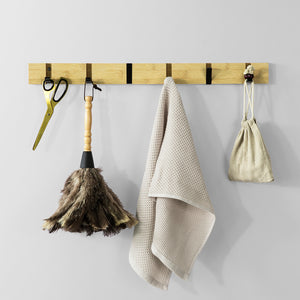SoBuy Wall Coat Rack with 6 Retractable Wall Hooks, l60cm in Bamboo Wood and Iron FHK15-