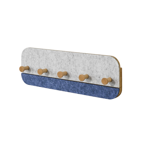SoBuy Wall Coat Rack with 5 Hooks Wall Coat Hooks Coat Hooks, Blue, FHK16-B
