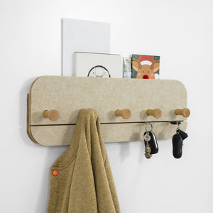 SoBuy Wall Coat Rack with 5 Hooks Wall Coat Hooks Coat Hooks, Beige, FHK16-MI