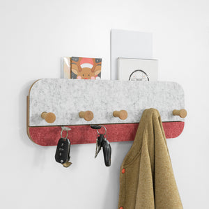 SoBuy Wall Coat Rack with 5 Hooks Wall Coat Hooks Coat Hooks, Red, FHK16-R