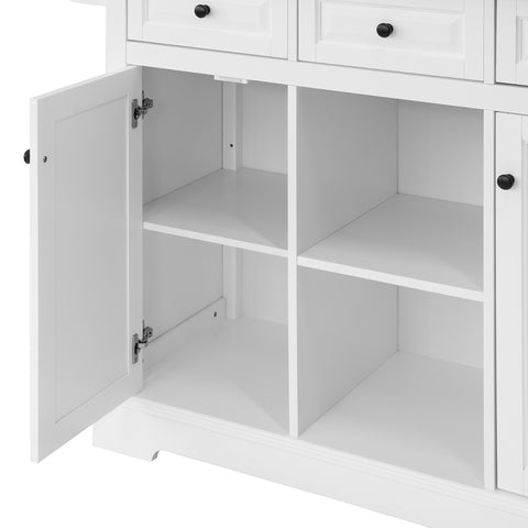 SoBuy Kitchen Cart Kitchen Sideboard White Kitchen Cabinet With Route FKW101-WN