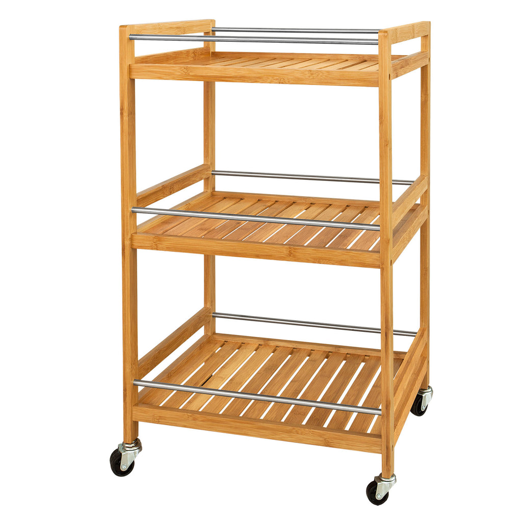 SoBuy Kitchen Cart Food Cart Space-saving Wooden Cart With Route Fkw11-N