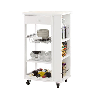 SoBuy Kitchen Cart Kitchen Sideboard White Kitchen Cabinet With Route Fkw12-W