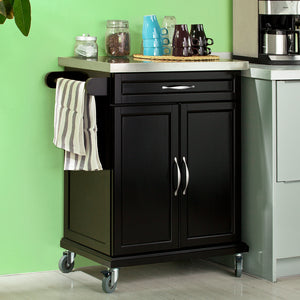 SoBuy Kitchen Cart Kitchen Sideboard Black Kitchen Cabinet With Route Fkw13-Sch