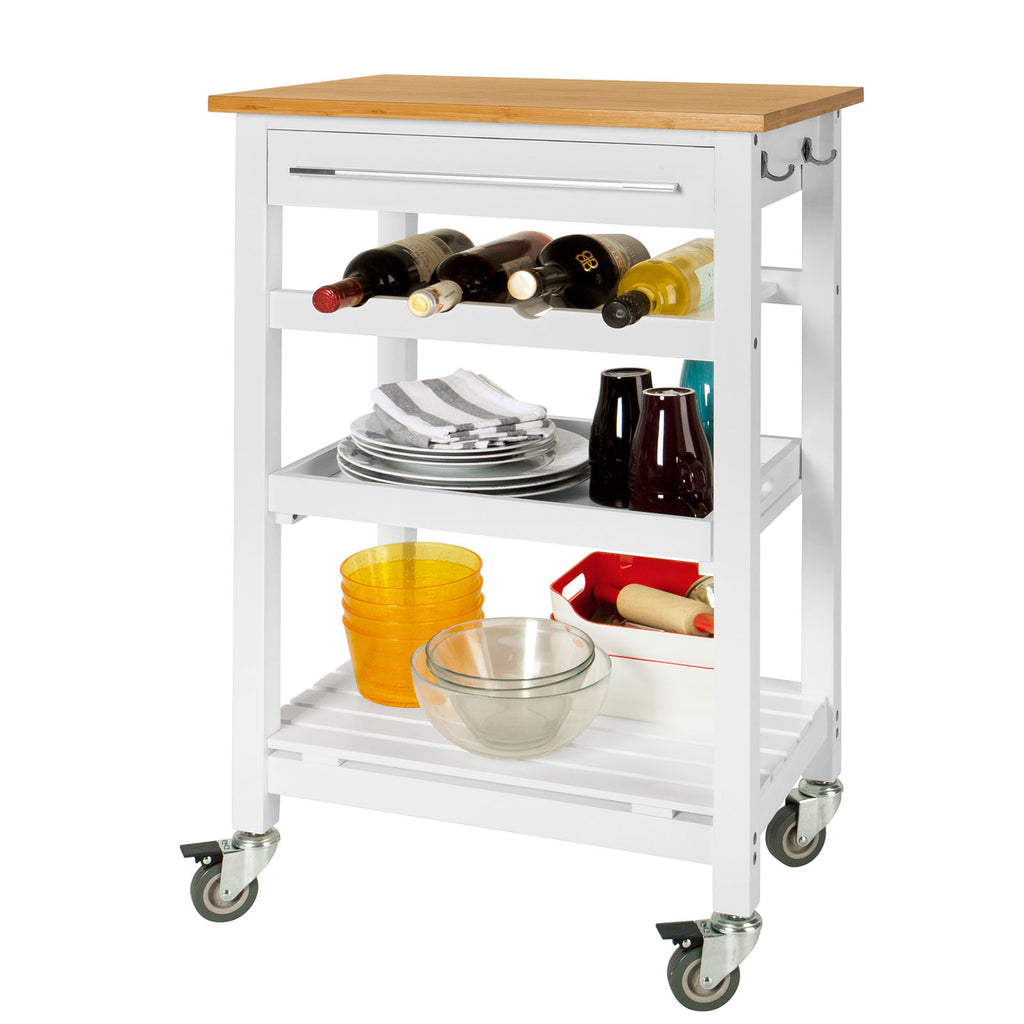 SoBuy Kitchen Cart Kitchen Shelf White Kitchen Cabinet With Route Fkw16-Wn