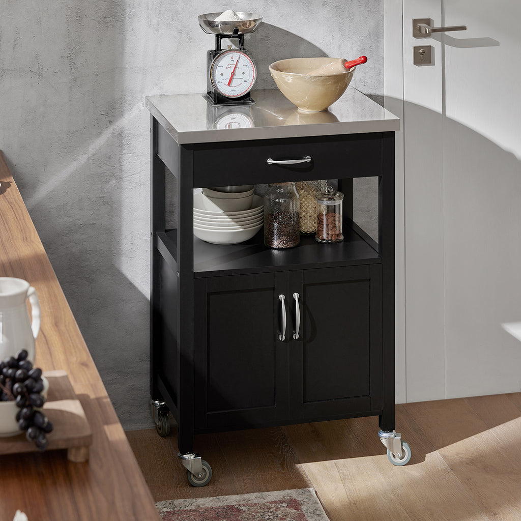 SoBuy Kitchen Cart Kitchen Cabinet Kitchen Cabinet Black With Route FKW22-SCH