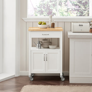 SoBuy Kitchen Cart Kitchen Sideboard White Kitchen Cabinet With Route Fkw22-Wn