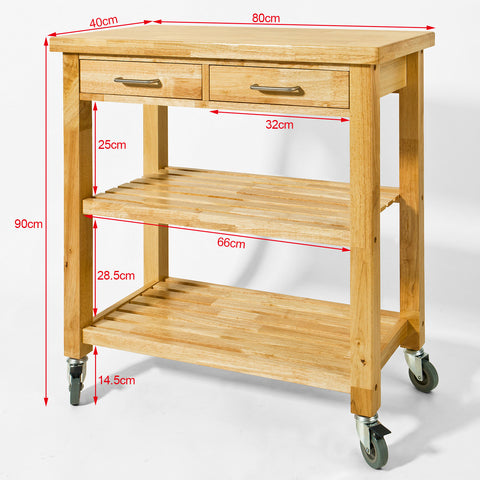 SoBuy Kitchen Cart Kitchen Shelf Kitchen Cabinet Wood With Route Fkw24-N