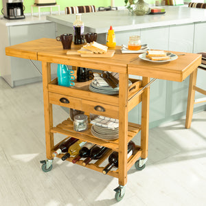 SoBuy Kitchen Cart Kitchen Sideboard Kitchen Cabinet Wood With Route Fkw25-N