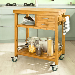 SoBuy Kitchen Cart Kitchen Sideboard Kitchen Cabinet Wood With Route Fkw26-N