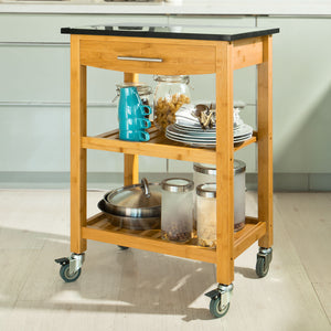 SoBuy Kitchen Cart Kitchen Shelf Black Kitchen Cabinet With Route Fkw28-Sch