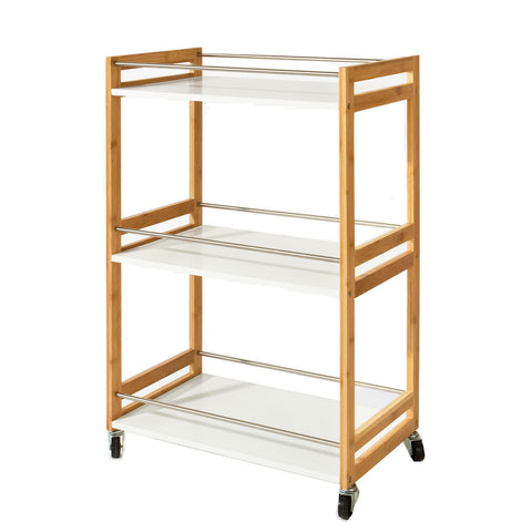 SoBuy Kitchen Cart Food Cart Space Saving Cart White With Route Fkw32-Wn