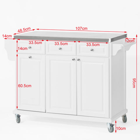 SoBuy Kitchen Cart Kitchen Sideboard White Kitchen Cabinet With Route Fkw33-W