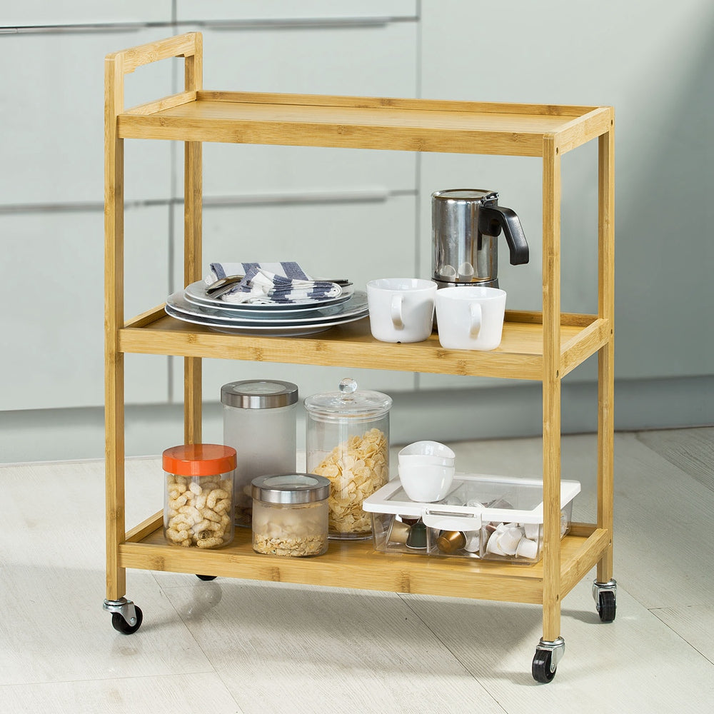 SoBuy Kitchen Cart Food Cart Space-saving Wooden Cart With Route Fkw34-BN