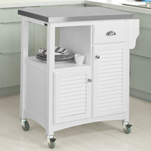 SoBuy Kitchen Cart Kitchen Sideboard White Kitchen Cabinet With Route Fkw37-W