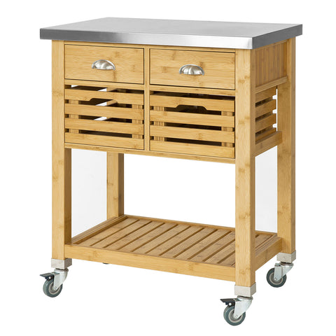 SoBuy Kitchen Cart Kitchen Sideboard Kitchen Cabinet Wood With Route Fkw40-N