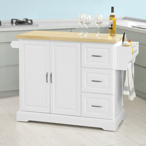 SoBuy Kitchen Cart Kitchen Sideboard White Kitchen Cabinet With Route Fkw41-Wn