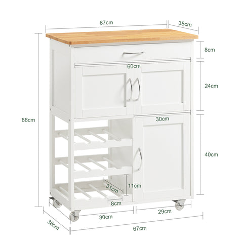 SoBuy Kitchen Cart Kitchen Sideboard White Kitchen Cabinet With Route Fkw45-Wn