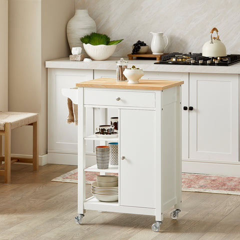 SoBuy Kitchen Cart Kitchen Sideboard White Kitchen Cabinet With Route Fkw46-Wn