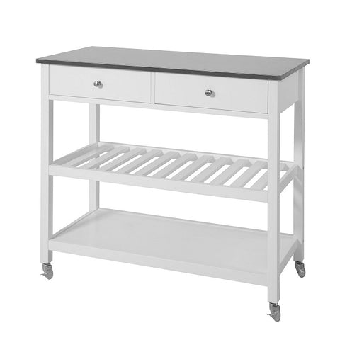 SoBuy Kitchen Cart Kitchen Sideboard White Kitchen Cabinet With Route Fkw47-W