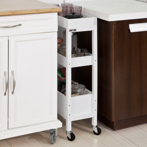 SoBuy Kitchen Cart Space Saving Cart White Wood Kitchen Cart With Route Fkw49-W