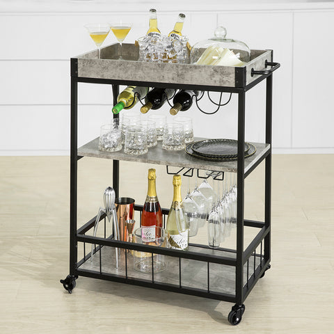 SoBuy Space-saving Kitchen Trolley Home Bar Corner with Bottle Rack and Industrial Style Tray Gray, FKW56-HG