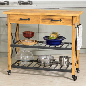 SoBuy Kitchen Cart Kitchen Sideboard Kitchen Cabinet Wood With Route Fkw57-N