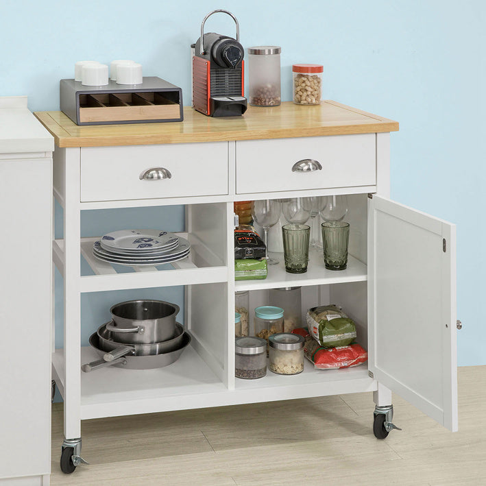 SoBuy kitchen trolley kitchen sideboard kitchen cabinet white FKW62-WN