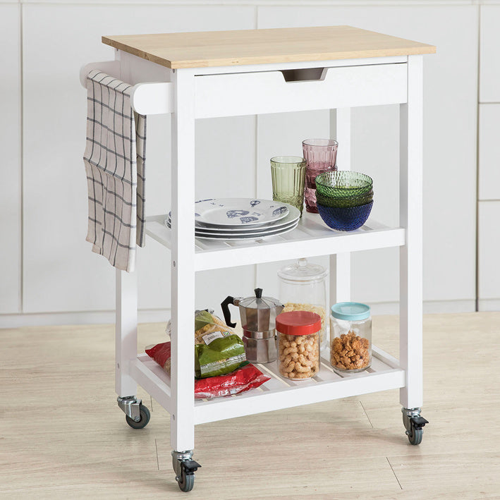 SoBuy Kitchen trolley kitchen cabinet white kitchen shelf With Route FKW66-WN