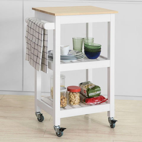 SoBuy Kitchen trolley kitchen cabinet white kitchen shelf With Route FKW67-WN