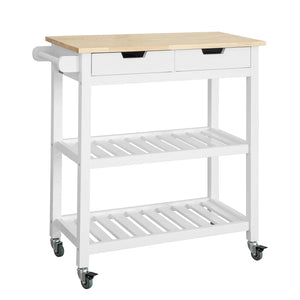 SoBuy Kitchen trolley kitchen cabinet white kitchen shelf With Route FKW68-WN
