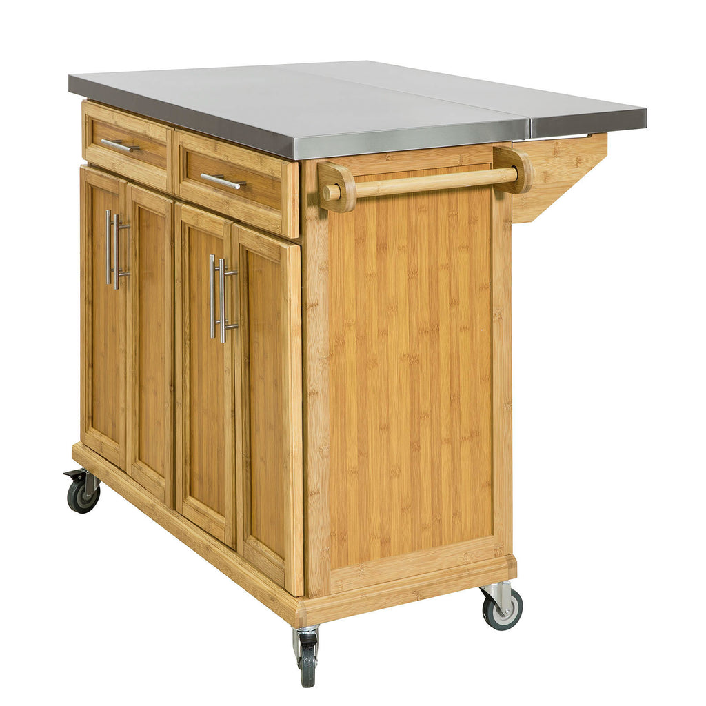 SoBuy Kitchen Trolley Sideboard Wood Kitchen Worktop Top Steel και Extendable FKW69-N
