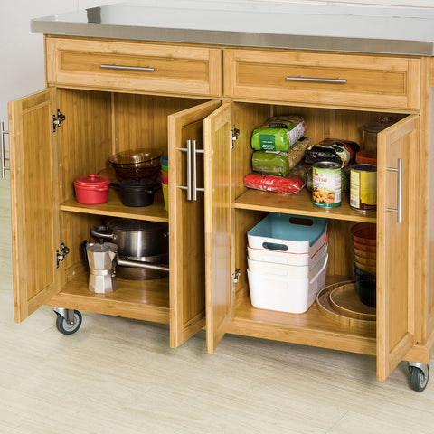 SoBuy Kitchen Trolley Sideboard Wood Kitchen Work Top Steel and Extendable FKW69-N
