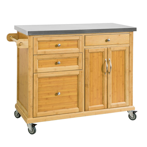 SoBuy Kitchen Trolley Sideboard Wood Kitchen Worktop Top FKW70-N