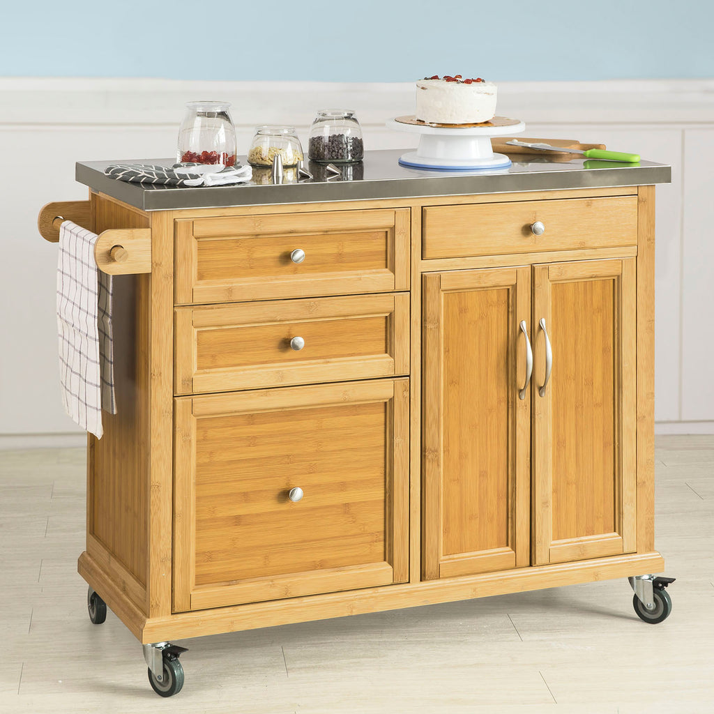 SoBuy Kitchen Cart Wooden Sideboard Worktop Kitchen Steel Top FKW70-N