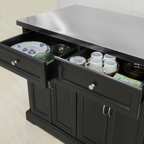 SoBuy Kitchen Cart Wooden Sideboard Kitchen Worktop Steel and extensible black top FKW71-SCH