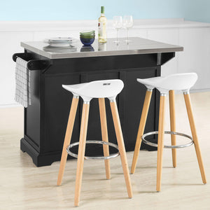 SoBuy Kitchen Trolley Sideboard Wood Kitchen Work Top Steel Top och Black Extendable FKW71-SCH