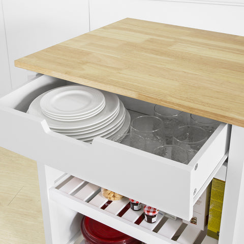 SoBuy Kitchen Peninsula Kitchen Worktop with 1 drawer with 2 Shelves L71 * P61 * H94 cm FKW74-K-WN